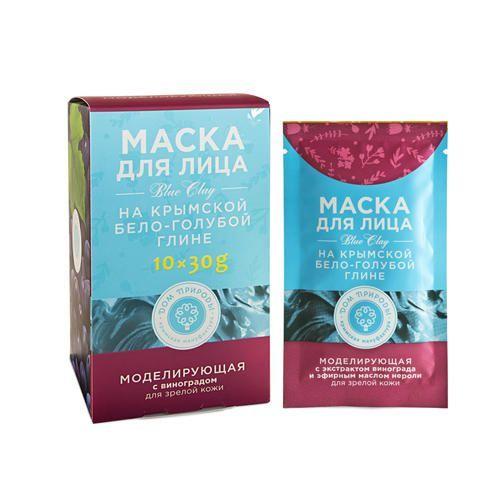 ДОМ ПРИРОДЫ Маска МОДЕЛИРУЮЩАЯ для зрелой кожи на основе Крымской бело-голубой глины (саше пакет 30г упаковка картонный дисплей 10 шт)